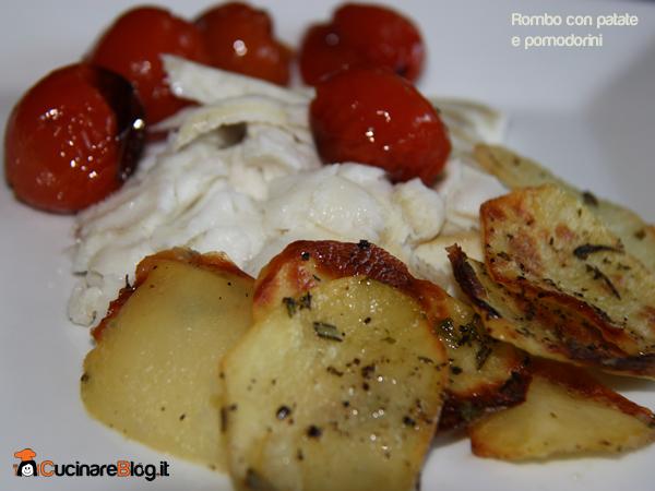Rombo al forno con patate e pomodorini